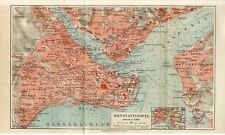 1895 TUKREY CONSTANTINOPLE ISTANBUL CITY PLAN  Antique Map