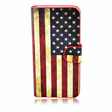 Retro US Flag Lether Wallet  Phone Case Cover Stand For Apple iPhone SE 5 5S 5G