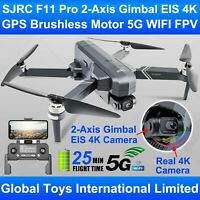SJRC F11S Pro 4K Foldable GPS 5G WIFI FPV RC Drone 2-Axis Gimbal EIS Camera UAV