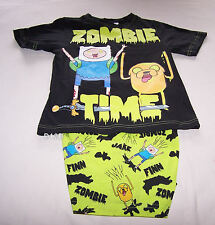 Adventure Time Finn Jake Boys Zombie Time Black Printed Pyjama Set Size 12 New