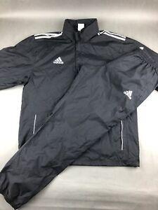 Adidas Black Track Suit Zip Up Jacket / Pants Windbreaker Men's XL