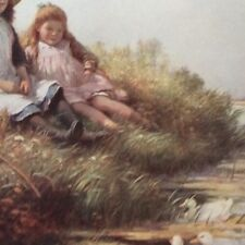 m17a1 ephemera 1920s book plate waiting and watching children on river bank