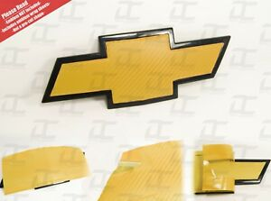 (2) Silverado Tahoe Yellow Carbon Fiber Chevy Bowtie Vinyl Sheets Emblem Overlay