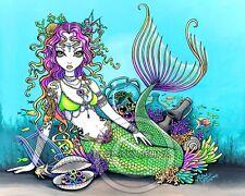 Mermaid Fae Art Signed  PRINT Rainbow Harp Coral Siren Lyra Big Eyed Myka Jelina