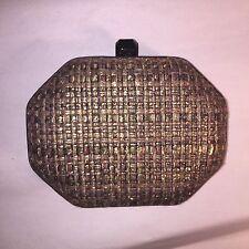 NWT  REBECCA MINKOFF Metalic gold tweed & leather BOX CLUTCH $350
