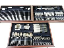 129 pc Boxed SILVER CANTEEN of CUTLERY SET 12 person Louis XVI service SHEFFIELD