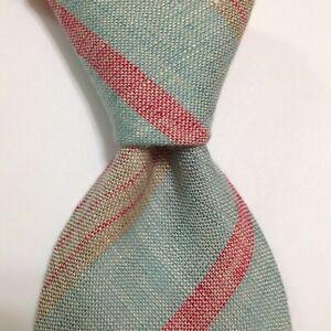 "BRIONI Men's Silk/Linen XL 62 1/2"" Necktie ITALY Luxury STRIPED Blue/Red/Tan EUC"