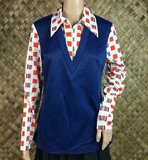 Vintage H Bar C California Ranchwear Large Blue Long Sleeve Pullover Top Collar