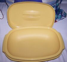 Tupperware Serving Dish WITH LID  7 cup YELLOW MUSTARD GOLD VINTAGE 70'S