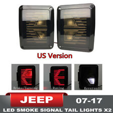 2PC Smoked LED Tail Lights Brake Lamp For Jeep Wrangler JK JKU 2007 - 2017 HOT