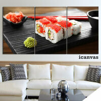 Food Sushi Restaurant 3 piece HD Art Poster Wall Home Decor Canvas Print