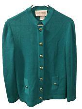 Castleberry Vintage 1980s Jade Green Cardigan Sweater - Women's M