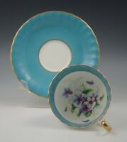 AYNSLEY ENGLAND VIOLETS -TURQUOISE CUP AND SAUCER SET