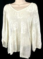 AG Adriano Goldschmied Womens (XS) Crochet Open Stitch Knit Top Cotton Ivory