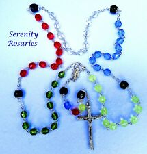Missionary / World Peace Rosary Handmade in Colourful Bohemian Faceted Glass