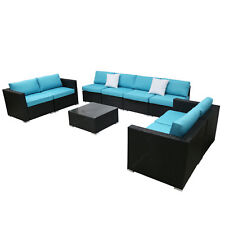 9PC Rattan Wicker Sofa Outdoor Sectional Furniture Sofa Set With Cushions