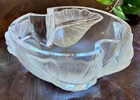 "Lalique Arums Heavy French Crystal Bowl Mint Condition Signed Gorgeous 9.5"" Wide"