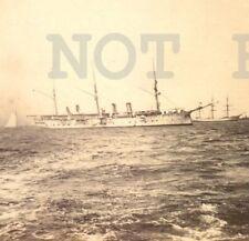 1902 italian 3 mast vessel Battleship Military Montevideo port photo postcard
