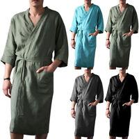 Mens Cotton Linen Pajamas Kimono Bathrobe Robe Dressing Summer Casual Loungewear