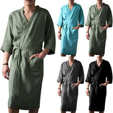 Mens Cotton Linen Pajamas Kimono Bathrobe Robe Dressing Summer Loungewears HOT