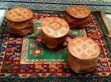 Lot of 4 Vintage Moroccan POUF Handmade Genuine Leather Pouffe Ottoman Footstool