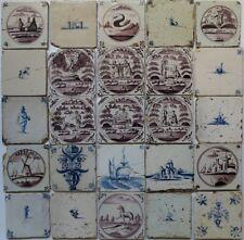 25 Dutch Delft Delftware tiles Careaux with VOC ship swan windmill horse flower.