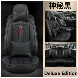 Luxury Leather Full Set Seat Covers Black Four Seasons Universal For 5 Seats Car