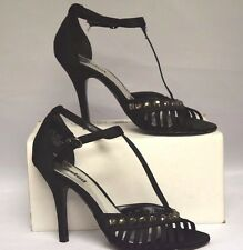 "Unlisted by Kenneth Cole Black Strappy 4"" Stilettos Rhinestone Accents Size 8"