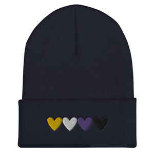 Nonbinary Hearts Embroidered Cuffed Beanie