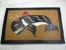 Northwest Coast Signed Carved Wood Killer Whale Orca Wall Hanging Plaque- J.Ward