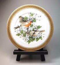 "12"" Porcelain Bird Plate Charger Gold Rim Limoges Porcelaine LG Dec A Main"