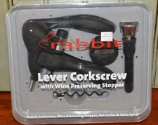 New listing Rabbit Lever Corkscrew w/ Wine Preserving Stopper Foil Cutter & extra Spiral