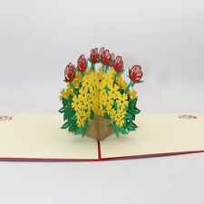 Flower Basket 3D Greeting Card Handmade Paper-Cutter Birthday Anniversary N7