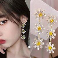 Crystal Tassel Daisy Flower Petal Drop Earrings Stud Dangle Women Fashion Gift