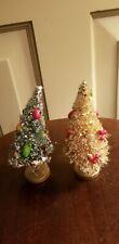 Vintage Bottle Brush Miniature dollhouse Christmas Trees Mica Fruit Glitter