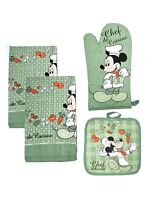 Mickey Mouse 4-Piece Dish Towels Kitchen Set Pot-Holder Oven Mitt Green