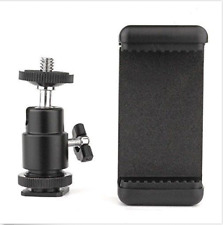 360° Ball Head Hot Shoe Adapter Mount + Cell Phone Holder Clip for DSLR Camera