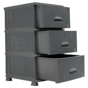 Kommode in Rattanoptik Schubladenschrank 3 Schubladen-Container Schrank Anrichte