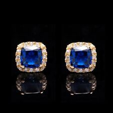 1.00CT Cushion Blue Sapphire & Diamond Simul Halo Stud Earrings 14k Yellow Gold