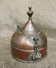 Charming Islamic lidded Copper bowl box from the Middle East with Arab text