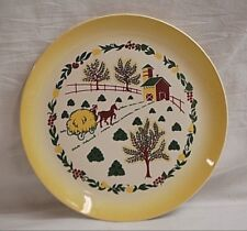"""Country Charm by Grant Crest 10"""" Dinner Plate Farm Scene Horse Hay Wagon Barn"""