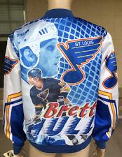 NWT Rare Vintage 90s Brett Hull St Louis Blues Chalk Line Fanimation Jacket USA