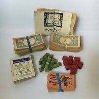 Vintage 1936 Monopoly Game Pieces Parker Brothers Wood Houses Tokens