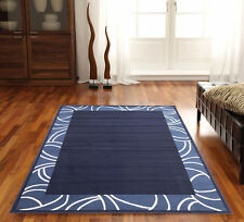 Floor Rug Extra Large Navy Modern Patterned Design 330 x 240 Carpet Mat