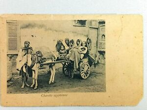 Vintage Postcard Charette Egyptienne Egypt Family in Pulled Cart
