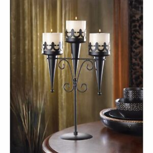 Triple Candle Candelabra Stand Medieval Gothic Style