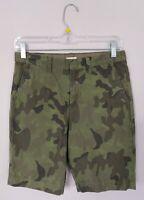 Crewcuts Boys Chino Shorts 12 Cotton Green Camouflage Pockets Adjustable Waist