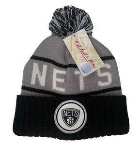 Mitchell & Ness Adults Unisex Brooklyn Nets Pom Pom Beanie Hat KJ46Z BNETS