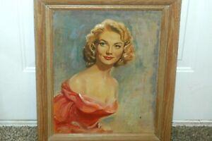 Rare Estate Framed Oil On Panel Of Patrice Wymore-Flynn Wife of Errol Flynn