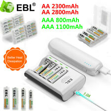 Lot EBL AAA AA Ni-MH Rechargeable Battery + 4 Slot Smart Charger for Flashlight